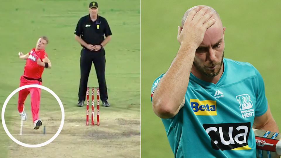Seen here, Jack Prestwidge delivered a rare back-foot no ball to Chris Lynn in the BBL.