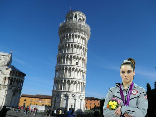 McKayla Maroney is not impressed with the Leaning Tower of Pisa.