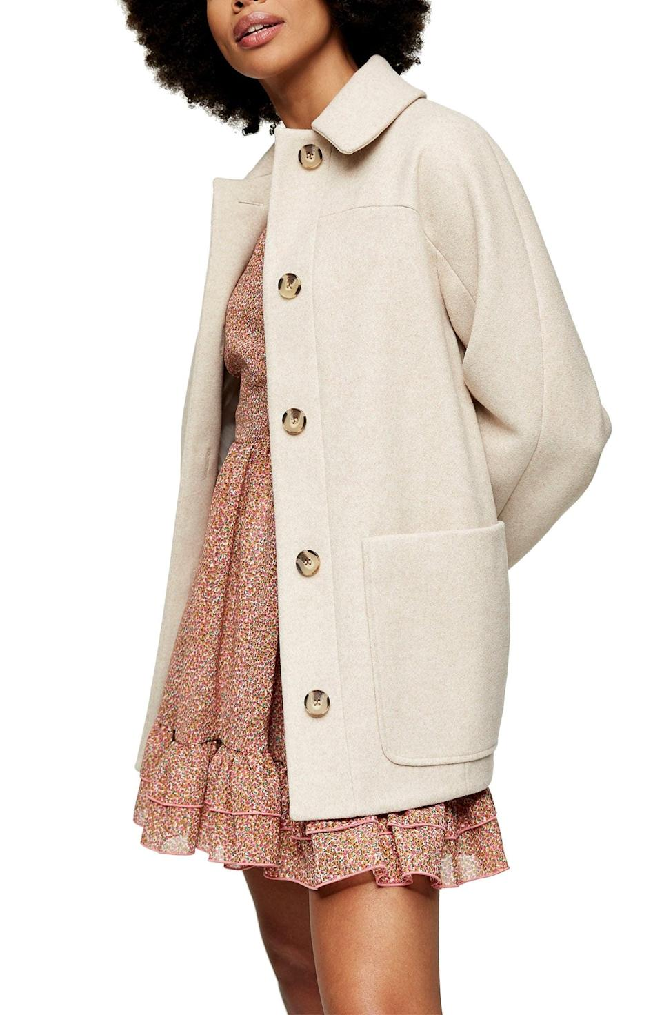 <p>Throw this <span>Topshop Oregon Car Coat</span> ($95) on for a polished finish.</p>