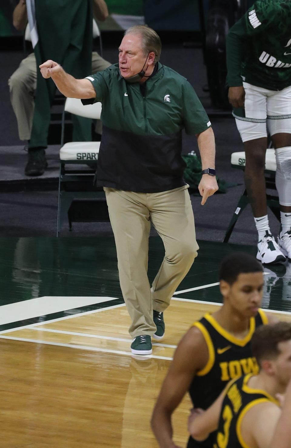 Michigan State Spartans head coach Tom Izzo on the bench during action against the Iowa Hawkeyes at Breslin Center on Saturday, Feb. 13, 2021.