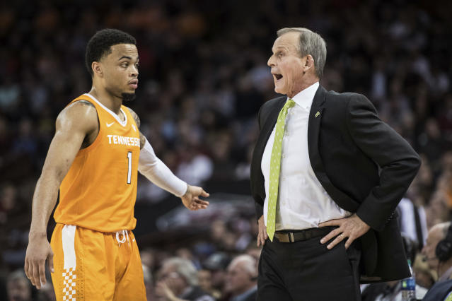 Tennessee head coach Rick Barnes shouts at guard Lamonte Turner (1) during the first half of an NCAA college basketball game against South Carolina Tuesday, Jan. 29, 2019, in Columbia, S.C. (AP Photo/Sean Rayford)