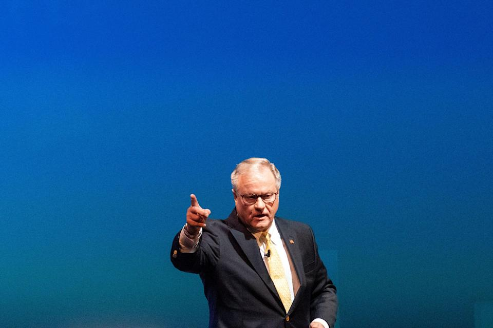 Republican challenger for governor and former state Sen. Scott Wagner gives his closing remarks following a debate against Gov. Tom Wolf at Hershey Lodge on Monday, Oct. 1, 2018.