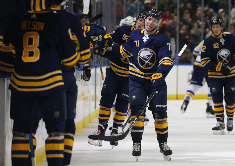 Buffalo Sabres forward Evan Rodrigues (71) celebrates his goal during the first period of the team's NHL hockey game against the St. Louis Blues, Sunday, March 17, 2019, in Buffalo, N.Y. (AP Photo/Jeffrey T. Barnes)