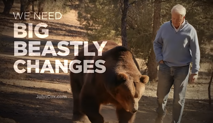 <p>Republican John Cox is campaigning for governor of California with a large grizzly bear as his mascot</p> (John Cox)