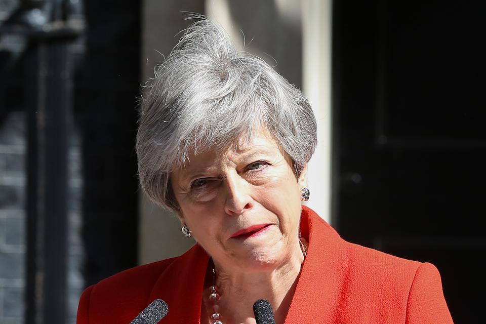 British Prime Minister Theresa May is seen breaking into tears as she made a statement in Downing Street after meeting Graham Brady, the chair of 1922 committee. Theresa May will resign as Prime Minister and the leader of the Conservative Party on 7 June 2019. (Photo by Dinendra Haria / SOPA Images/Sipa USA)