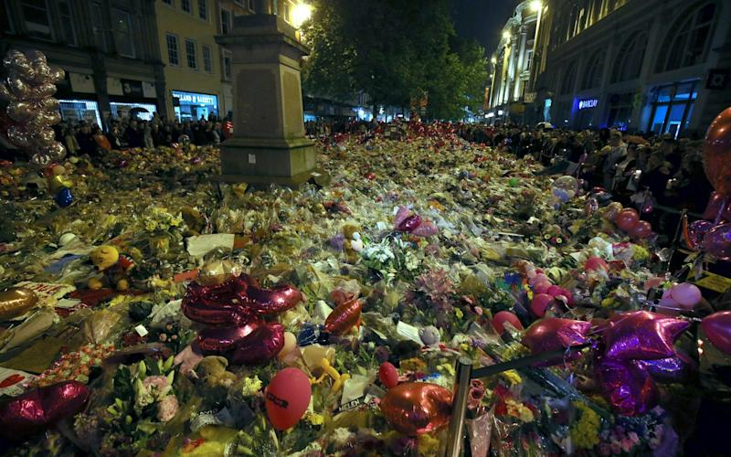 Tributes to the victims in Manchester Arena terrorist attack in 2017 - EPA