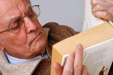 Pensioner with book