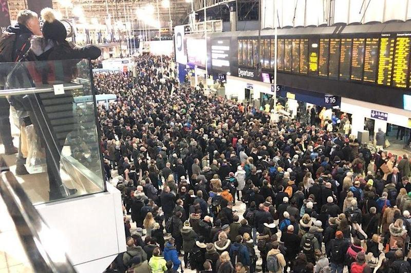 Packed: Commuters stranded in Waterloo as they await news on their trains. (Ruth Fulton)