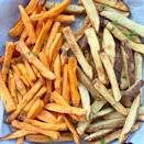 """<p>It's a small miracle that French fries are vegan—and this healthier take uses the air fryer to achieve the classic crispy crunch you crave.</p><p><a class=""""link rapid-noclick-resp"""" href=""""https://fitslowcookerqueen.com/air-fryer-fries-paleo-whole30/"""" rel=""""nofollow noopener"""" target=""""_blank"""" data-ylk=""""slk:GET THE RECIPE"""">GET THE RECIPE</a></p><p><em>Per serving: 89 calories, 1 g fat (0 g saturated), 18 g carbs, 1 g sugar, 164 mg sodium, 3 g fiber, 2 g protein</em></p>"""