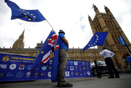 Anti-Brexit demonstrators wave EU and Union flags opposite the Houses of Parliament, in London