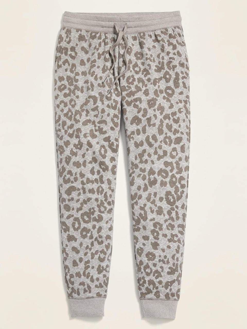 <p>If you love a little animal print, then no doubt these <span>Old Navy Mid-Rise Tapered-Leg Jogger Pants</span> ($32, originally $35) are the ones for you.</p>