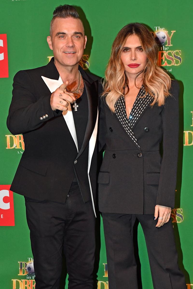 Robbie Williams and Ayda Field attending the opening night of the Boy In The Dress at the Royal Shakespeare Company in Stratford Upon Avon. (Photo by Jacob King/PA Images via Getty Images)