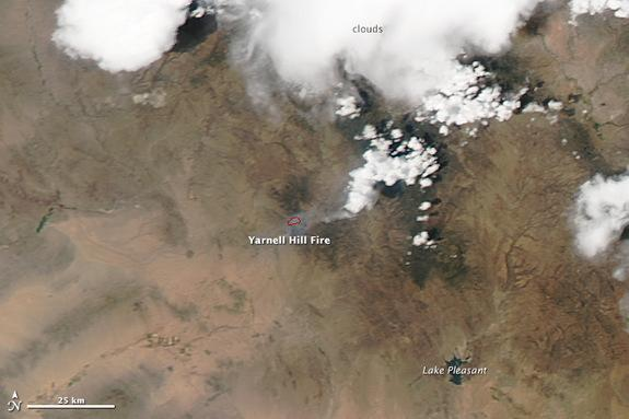 The deadly Yarnell fire in Arizona viewed from space on July 1.