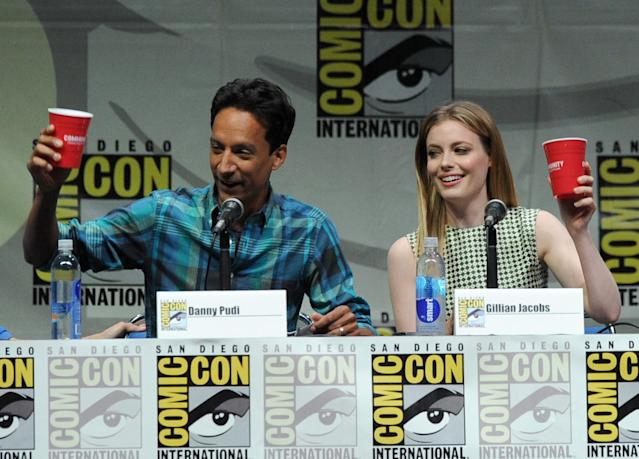 "SAN DIEGO, CA - JULY 21: Actors Danny Pudi (L) and Gillian Jacobs speak onstage at the ""Community"" celebrating the fans during Comic-Con International 2013 at San Diego Convention Center on July 21, 2013 in San Diego, California. (Photo by Kevin Winter/Getty Images)"