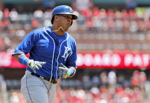 Kansas City Royals' Salvador Perez rounds the bases after hitting a solo home run during the second inning of a baseball game against the St. Louis Cardinals Wednesday, May 23, 2018, in St. Louis. (AP Photo/Jeff Roberson)