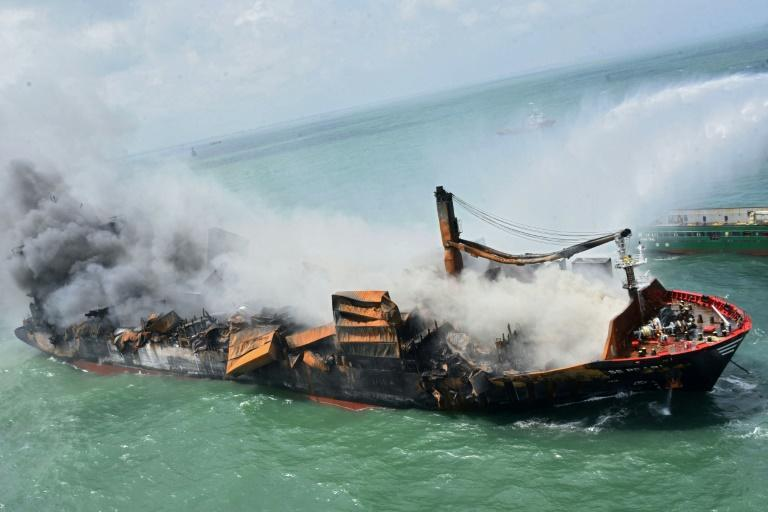 The Singapore-registered MV X-Press Pearl caught fire as it waited to enter Colombo harbour