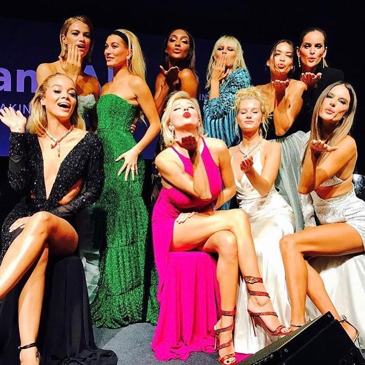 Ellen Von Unwerth captured a whole crew of models, including Alessandra Ambrosio, Hailey Baldwin, and Karolina Kurkova, at the amfAR Milan gala during Milan Fashion Week Spring 2018.