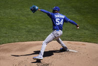 Kansas City Royals pitcher Ervin Santana throws against the Minnesota Twins in the first inning of a baseball game, Saturday, May 29, 2021, in Minneapolis. (AP Photo/Jim Mone)