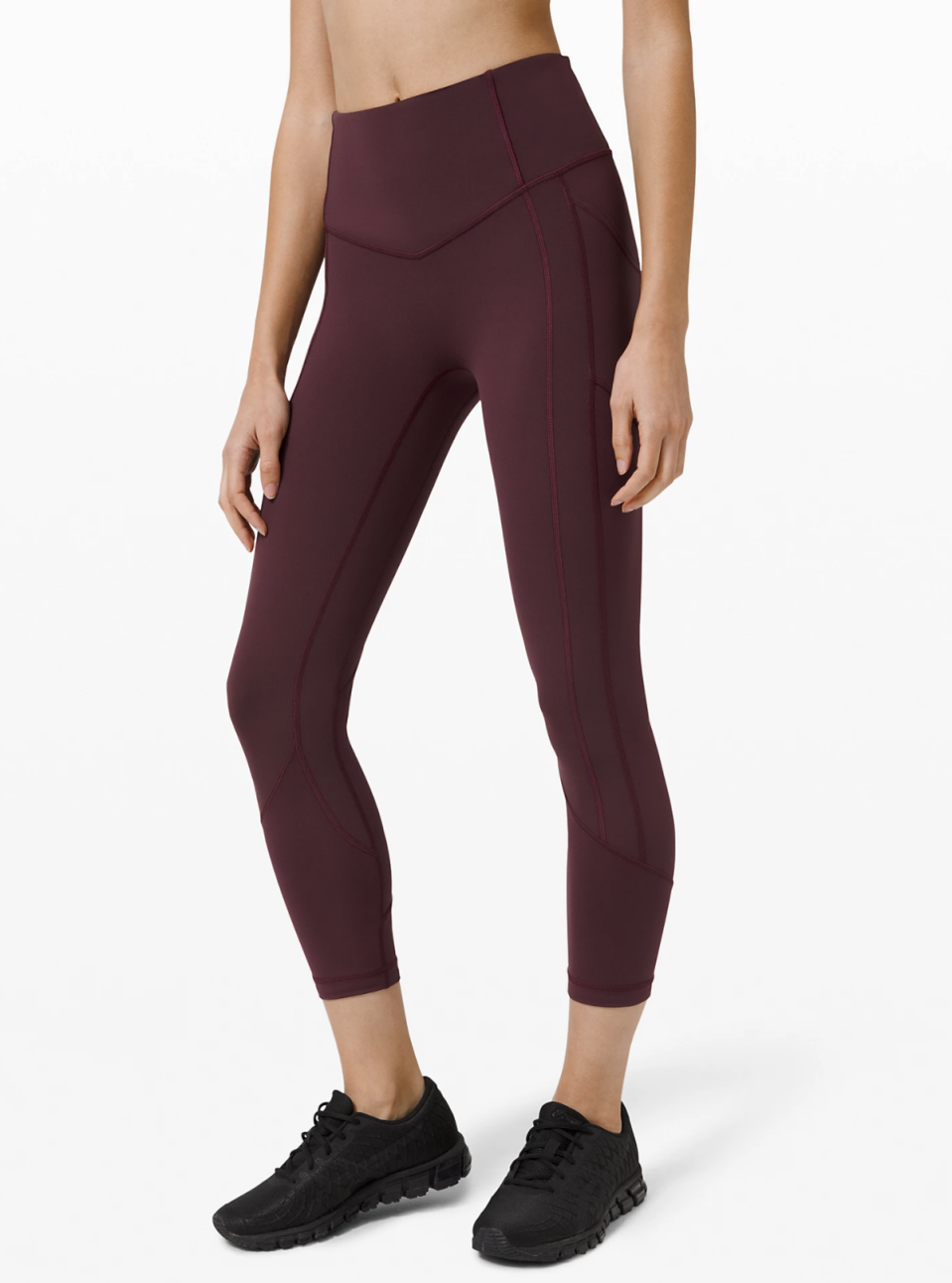 All The Right Places Crop in Cassis. Lululemon, $128.