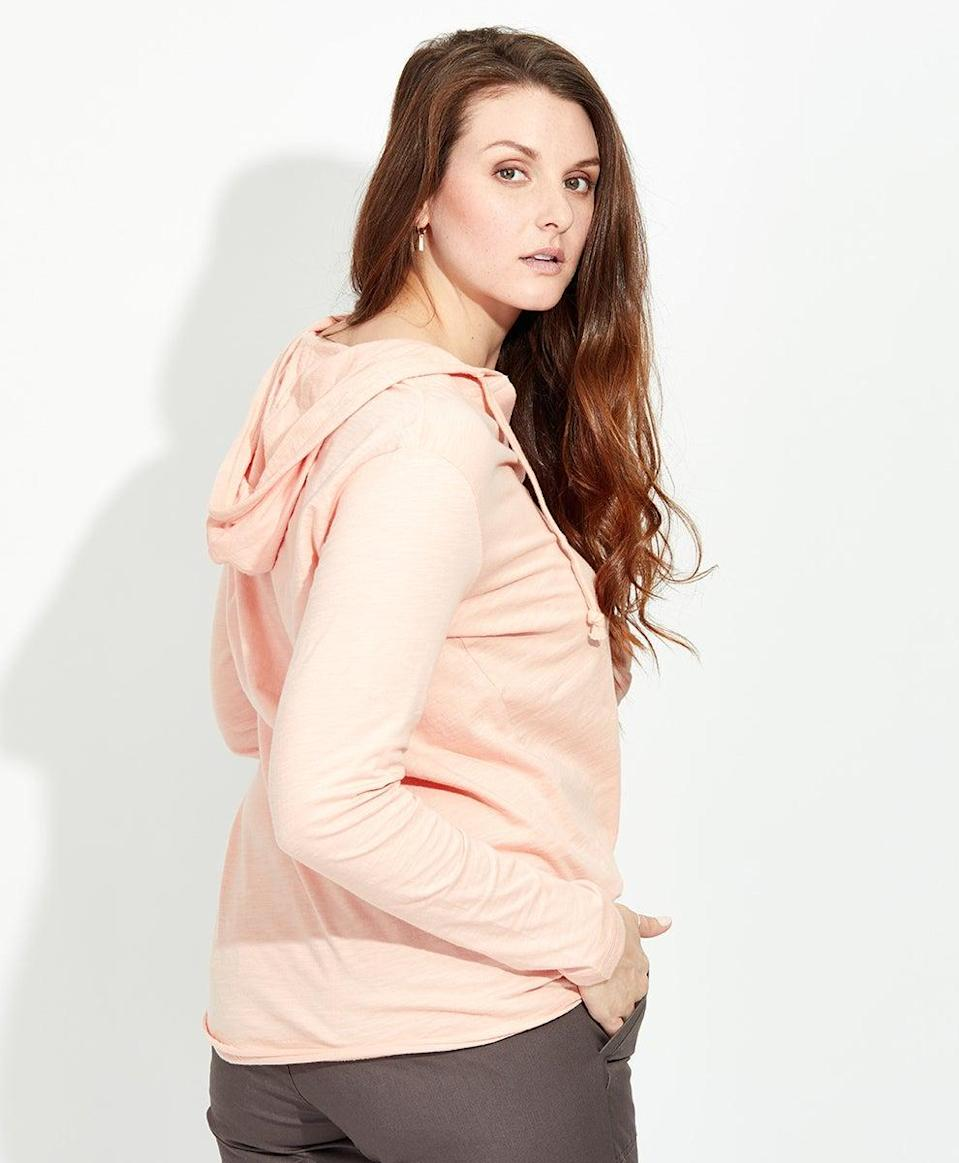 """<h3>Pact Hoodie Long Sleeve Tee</h3> <br>Skip the jacket altogether with a lightweight organic cotton slub hoodie-top hybrid that will keep you covered up, but not overheated.<br><br><strong>PACT</strong> Hoodie Long Sleeve Tee, $, available at <a href=""""https://go.skimresources.com/?id=30283X879131&url=https%3A%2F%2Fwearpact.com%2Fwomen%2Fapparel%2Ftops%2520%26%2520shirts%2Fhoodie%2520long%2520sleeve%2520tee%2Fwa1-wuh-wht"""" rel=""""nofollow noopener"""" target=""""_blank"""" data-ylk=""""slk:PACT"""" class=""""link rapid-noclick-resp"""">PACT</a><br>"""