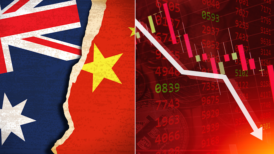 Image of stocks int he red; Australia flag clashing with China flag