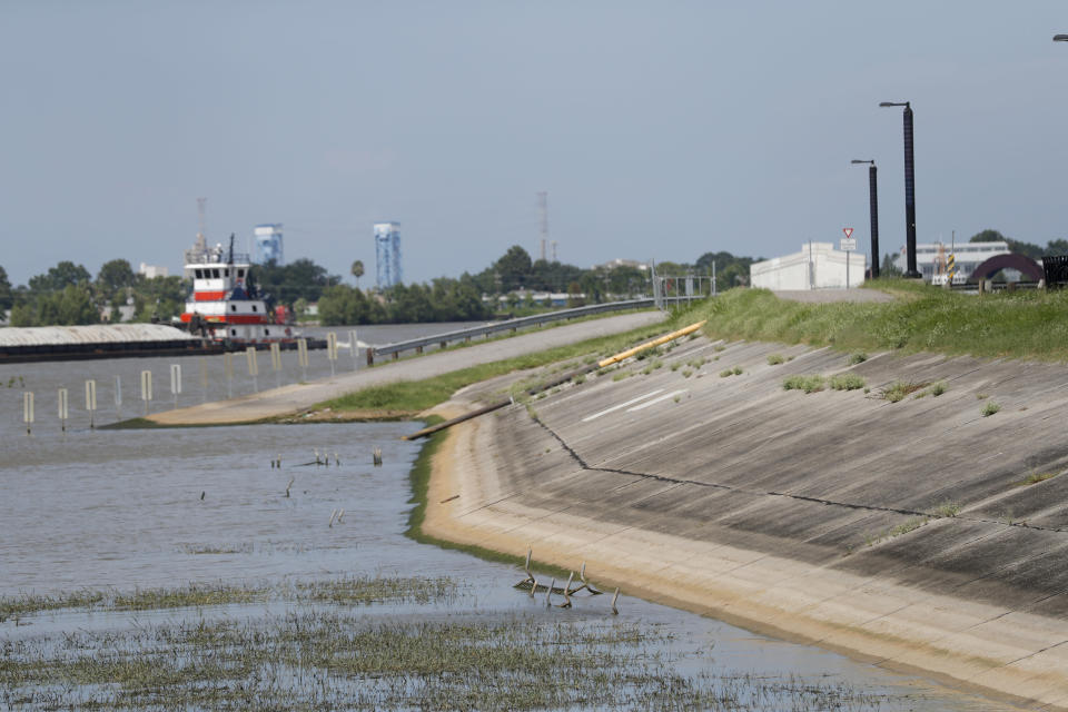 In this July 25, 2019 photo, Water lines and receding water are seen on the backside of the Mississippi River levee, in the flooded batture of Algiers Point in New Orleans. The river that drains much of the flood-soaked United States is running far higher than normal this hurricane season, menacing New Orleans in multiple ways. One continuing concern is the massive volume of water that for months has been pushing against levees protecting a city that's mostly below sea level. (AP Photo/Gerald Herbert)