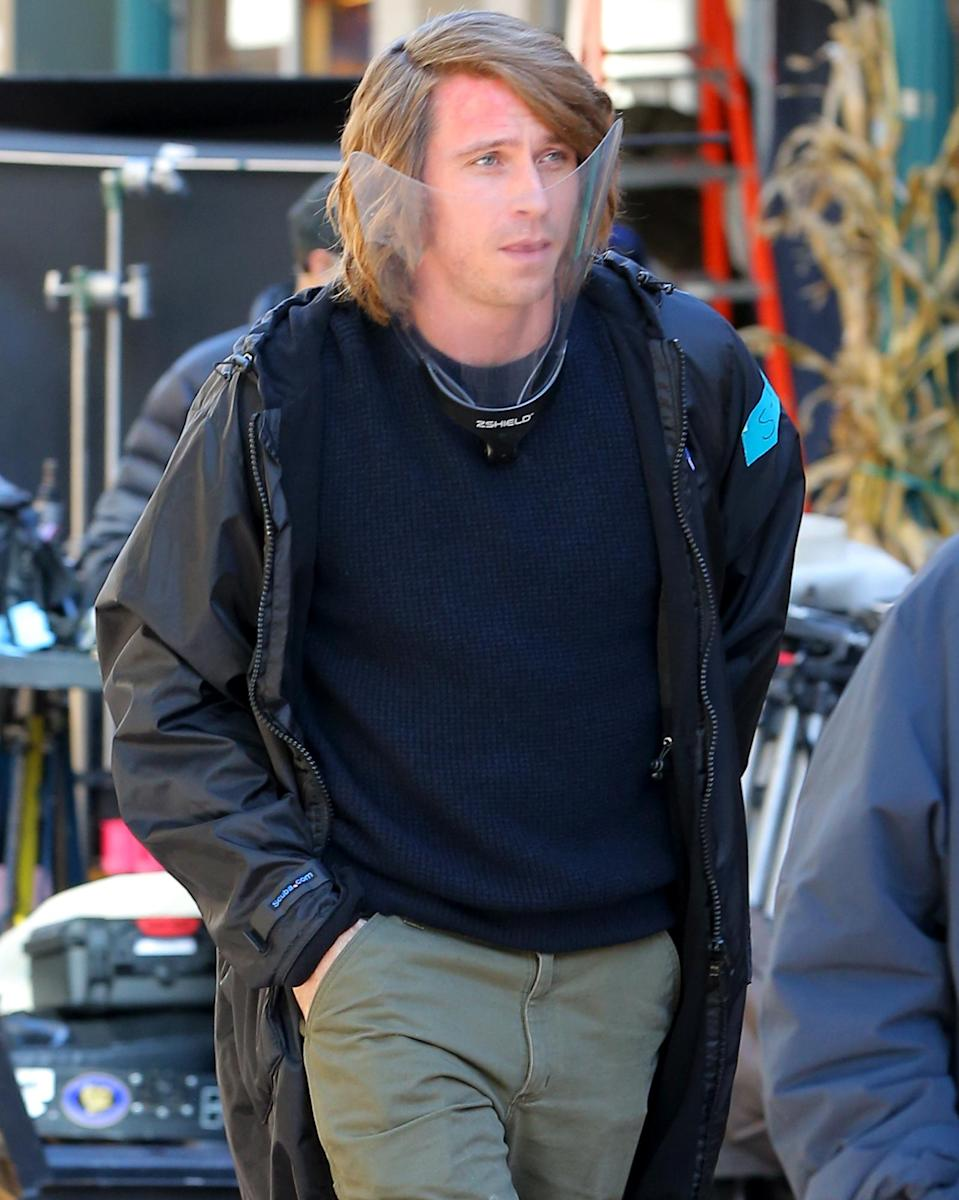 <p>Garrett Hedlund is seen filming <em>Modern Love</em> on Wednesday in Schenectady, New York.</p>