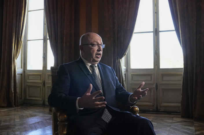 French ambassador to Australia Jean-Pierre Thebault gestures as he speaks during an interview with The Associated-Press in Paris, Friday, Oct. 8, 2021. Australian Prime Minister Scott Morrison welcomed France's decision to return its ambassador to Australia and said Thursday the bilateral relationship was bigger than the canceled submarine contract. (AP Photo/Michel Euler)