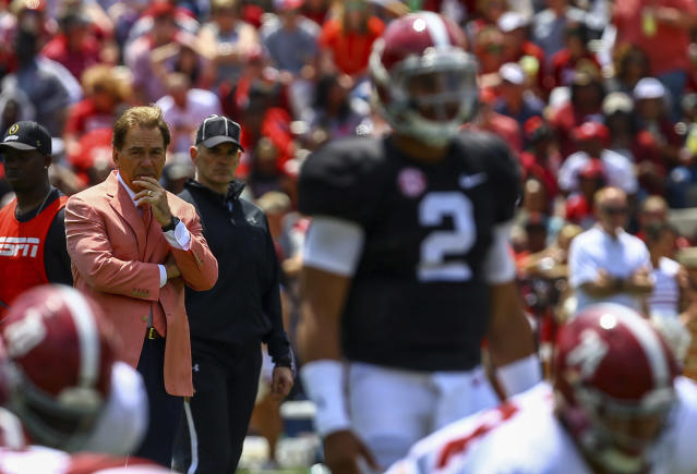 Alabama head coach Nick Saban watches during the first half of an NCAA college football Alabama spring game, Saturday, April 21, 2018, in Tuscaloosa, Ala. (AP Photo/Butch Dill)