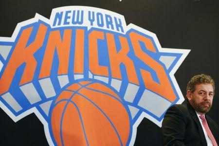New York Knicks owner James Dolan looks on during a news conference announcing Phil Jackson as the team president of the New York Knicks basketball team at Madison Square Garden in New York March 18, 2014. REUTERS/Shannon Stapleton  (UNITED STATES  - Tags: SPORT BASKETBALL BUSINESS) - RTR3HLSU