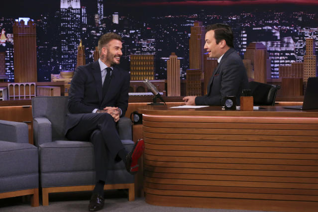 THE TONIGHT SHOW STARRING JIMMY FALLON -- Episode 1213 -- Pictured: (l-r) Soccer player David Beckham during an interview with host Jimmy Fallon on February 26, 2020 -- (Photo by: Andrew Lipovsky/NBC/NBCU Photo Bank via Getty Images)