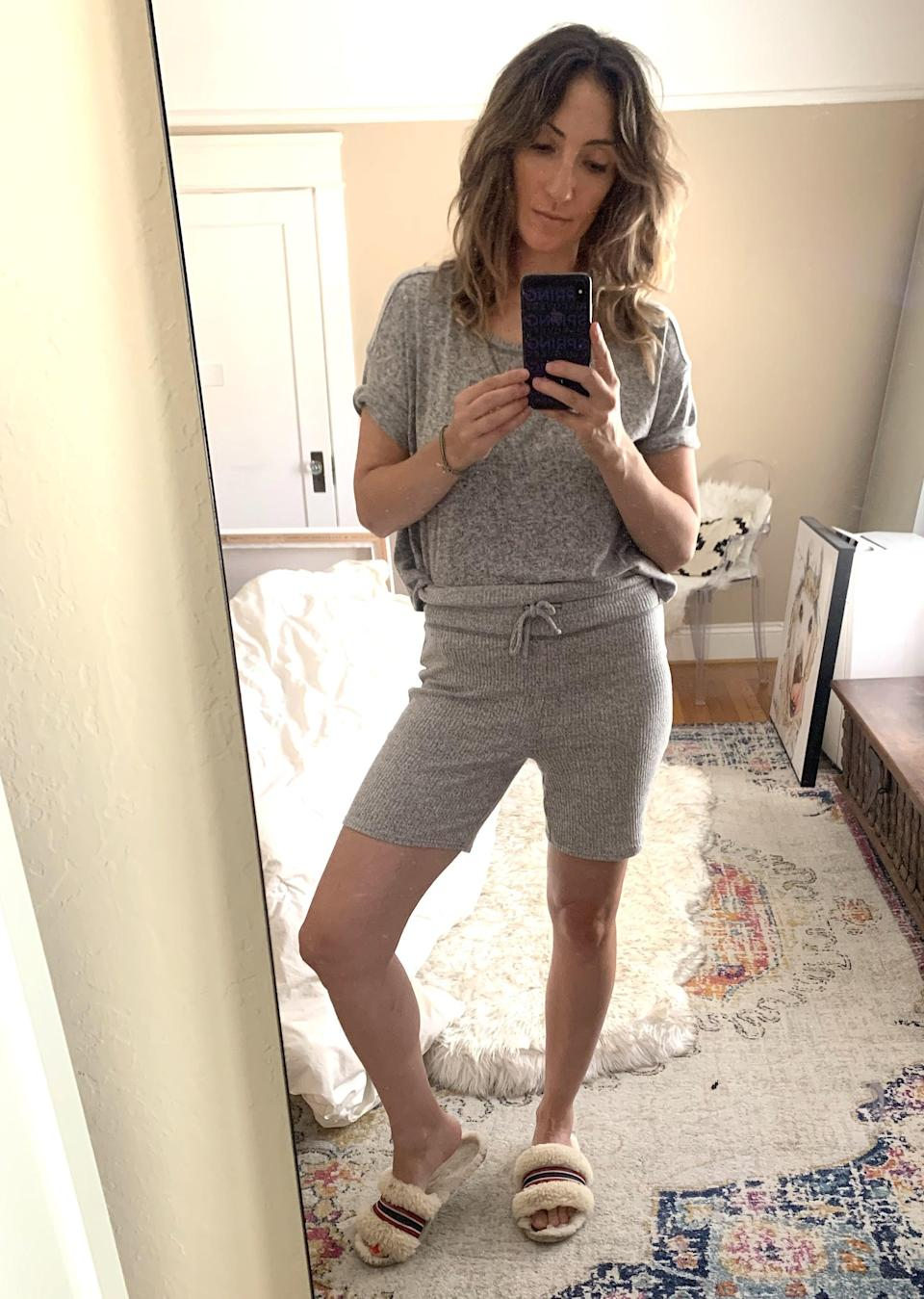 """<p><strong>The item:</strong> <span>Cozy Rib-Knit Rollover-Waist Pajama Shorts</span> (Sold Out) </p> <p><strong>What our editor said: </strong>""""The knit is ribbed and a mix of rayon, polyester, and spandex. I put them on and fell in love immediately. They hit a few inches above my knees but are long enough so my thighs don't touch while I sleep (a pet peeve)."""" - RB </p> <p>If you want to read more, here is the <a href=""""http://www.popsugar.com/fashion/comfortable-pajama-short-set-from-old-navy-47666817"""" class=""""link rapid-noclick-resp"""" rel=""""nofollow noopener"""" target=""""_blank"""" data-ylk=""""slk:complete review"""">complete review</a>.</p>"""