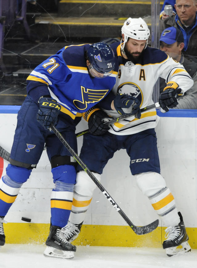 St. Louis Blues' Jordan Nolan (71) looks for the puck with Buffalo Sabres' Zach Bogosian (4) during the second period of an NHL hockey game, Thursday, Dec. 27, 2018, in St. Louis. (AP Photo/Bill Boyce)
