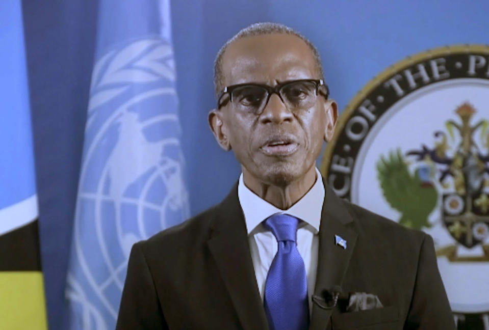 In this photo taken from video, Philip Joseph Pierre, Prime Minister of Saint Lucia, remotely addresses the 76th session of the United Nations General Assembly in a pre-recorded message, Saturday Sept. 25, 2021 at UN headquarters. (UN Web TV via AP)