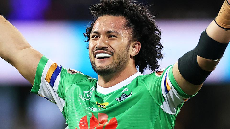 Canberra Raiders player Corey Harawira-Naera is awaiting a court date after he was allegedly caught drink driving on Christmas Eve. (Photo by Cameron Spencer/Getty Images)