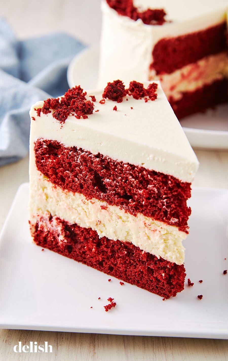 """<p>Talk about a stunner. This layer cake will sleigh your holiday dessert table.</p><p>Get the recipe from <a href=""""/cooking/recipe-ideas/recipes/a50687/red-velvet-cheesecake-cake-recipe/"""" data-ylk=""""slk:Delish"""" class=""""link rapid-noclick-resp"""">Delish</a>.</p>"""
