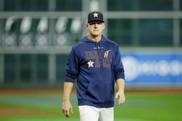 """Former Houston Astros manager A.J. Hinch says it's a """"fair question"""" if the club's 2017 Major League Baseball crown is tainted by a sign-stealing scandal the league uncovered last month (AFP Photo/Bob Levey)"""