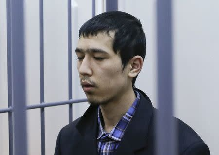 Suspect over the recent bombing of a metro train in St. Petersburg Abror Azimov attends a court hearing in Moscow
