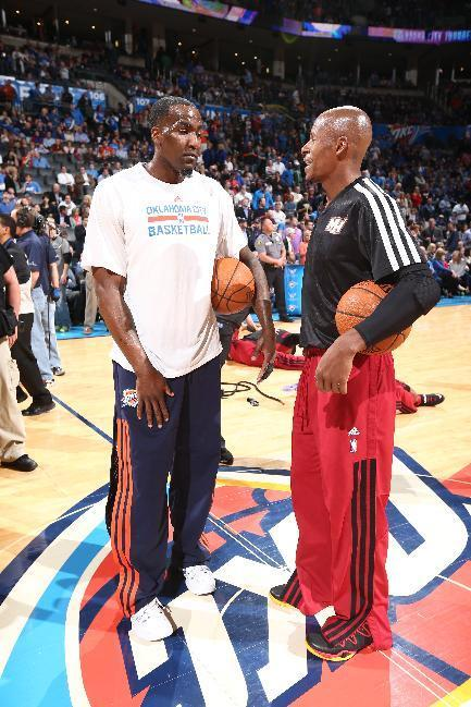 OKLAHOMA CITY, OK - FEBRUARY 20: Ray Allen #34 of the Miami Heat and Kendrick Perkins #5 of the Oklahoma City Thunder converse before a game at Chesapeake Energy Arena on February 20, 2014 in Oklahoma City, Oklahoma. (Photo by Nathaniel S. Butler/NBAE via Getty Images)