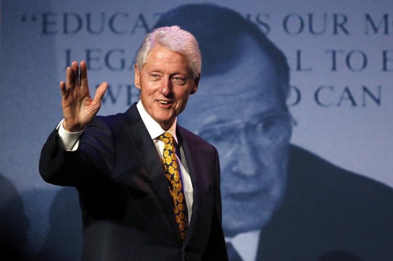 Former President Bill Clinton arrives speak at a George and Barbara Bush Distinguished Lecture series event, Friday, Sept. 27, 2019, at the University of New England in Biddeford, Maine. (AP Photo/Robert F. Bukaty)