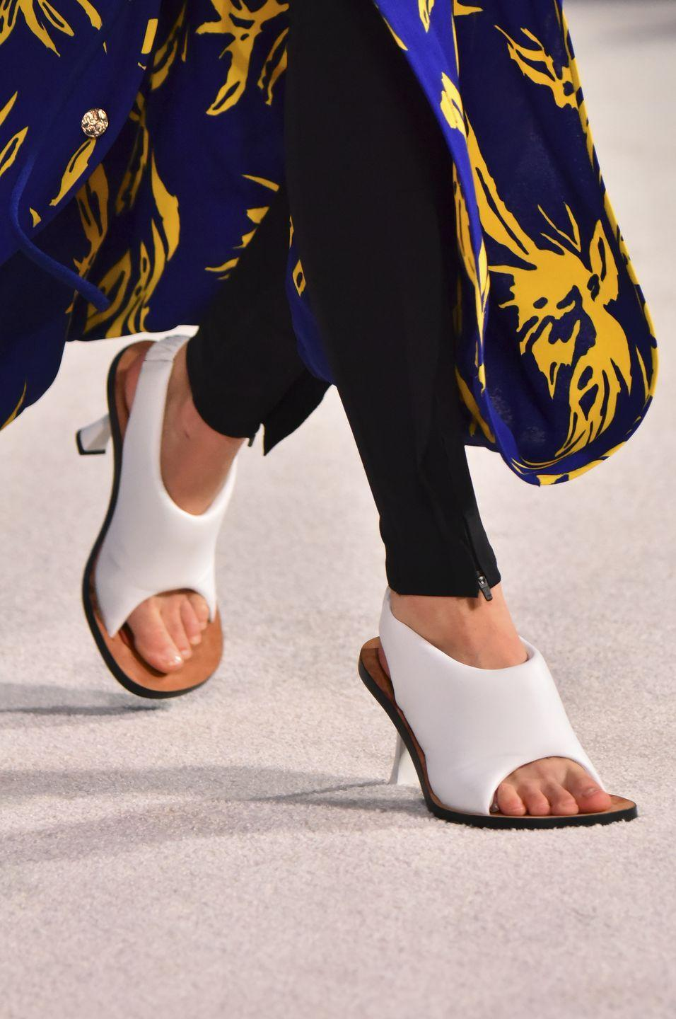 <p>A fresh take on white sandals for the new season. </p>