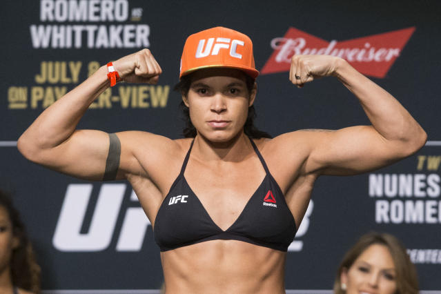 Amanda Nunes poses during the UFC 213 ceremonial weigh-ins in Las Vegas. (AP)
