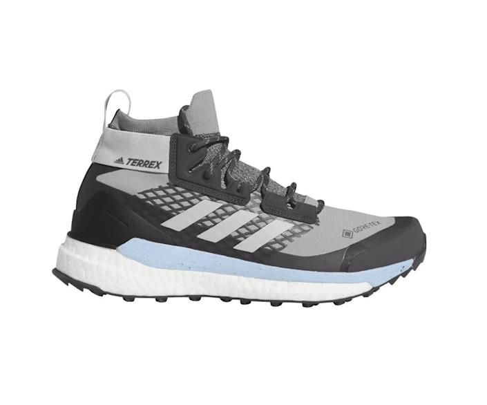 "Snyder recommends these Adidas Women's Terrex Free Hiker GTX shoes. <a href=""https://fave.co/3isivtt"" rel=""nofollow noopener"" target=""_blank"" data-ylk=""slk:Rent them starting a $6/day at Arrive."" class=""link rapid-noclick-resp"">Rent them starting a $6/day at Arrive.</a>"