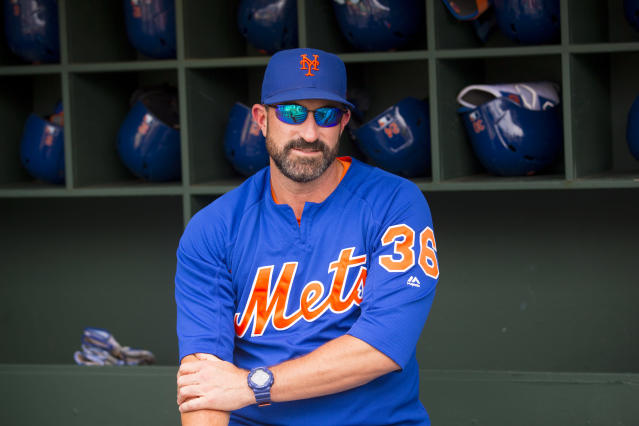 "PHILADELPHIA, PA - JUNE 24: Manager Mickey Callaway #36 of the <a class=""link rapid-noclick-resp"" href=""/mlb/teams/ny-mets/"" data-ylk=""slk:New York Mets"">New York Mets</a> looks on prior to the game against the <a class=""link rapid-noclick-resp"" href=""/mlb/teams/philadelphia/"" data-ylk=""slk:Philadelphia Phillies"">Philadelphia Phillies</a> at Citizens Bank Park on June 24, 2019 in Philadelphia, Pennsylvania. (Photo by Mitchell Leff/Getty Images)"