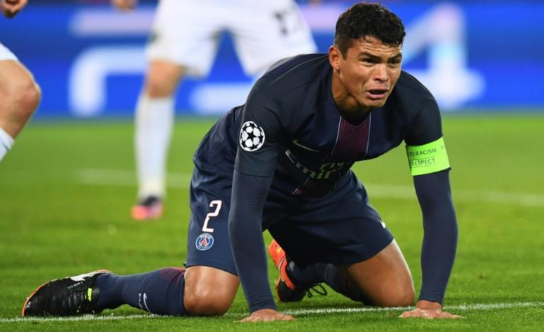 Paris Saint-Germain's Brazilian defender Thiago Silva will miss the Barcelona clash after sitting out in training