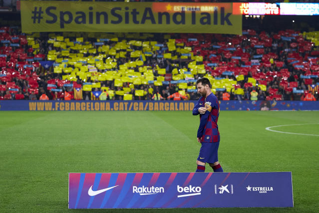 Lionel Messi of FC Barcelona looks on prior to the Liga match between FC Barcelona and Real Madrid CF at Camp Nou on Dec. 18, 2019 in Barcelona, Spain. (Quality Sport Images/Getty Images)
