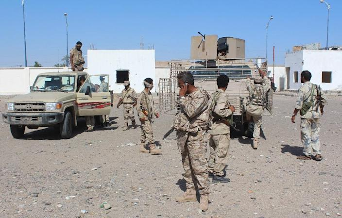 Forces loyal to the Saudi-backed Yemeni president patrol a street in the southern city of Lahj on April 24, 2016, during an operation to drive Al-Qaeda fighters out of the southern provinces (AFP Photo/Saleh al-Obeidi)