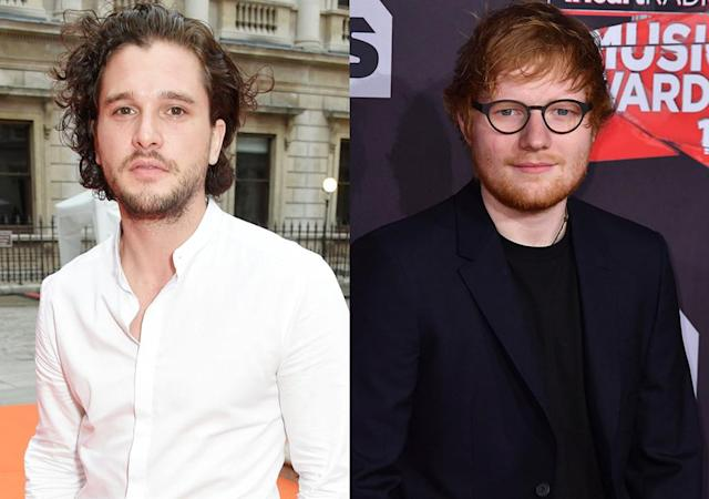 Kit Harington and Ed Sheeran had a meeting in the men's room. (Photo: Getty Images)