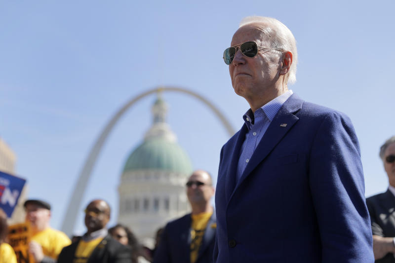 Democratic presidential candidate former Vice President Joe Biden waits to take the stage during a campaign rally Saturday, March 7, 2020, in St. Louis. (AP Photo/Jeff Roberson)