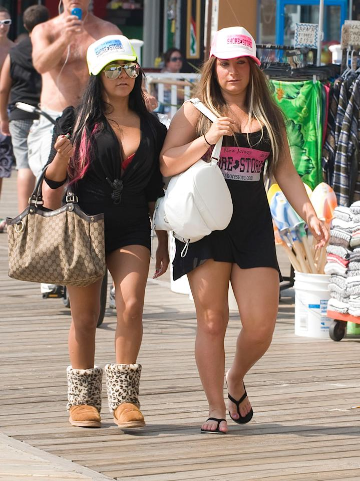 "Clearly, ""Jersey Shore"" stars Nicole ""Snooki"" Polizzi and Deena Cortese didn't learn anything about style while filming Season 4 of their reality show in fashionable Florence, Italy. Mejia/Asadorian/<a href=""http://www.splashnewsonline.com/"" target=""new"">Splash News</a> - July 22, 2011"
